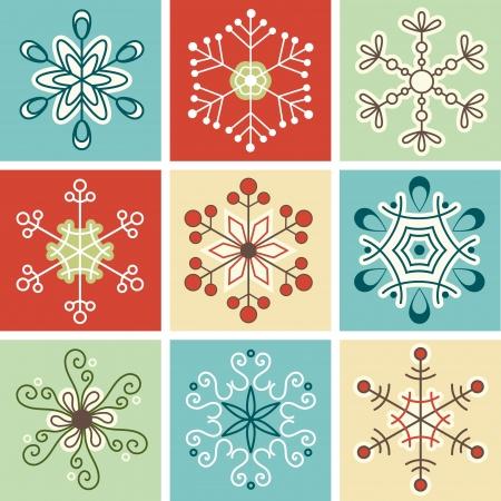 Retro snowflakes, Christmas decoration Illustration