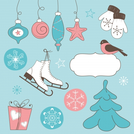 Winter holidays doodles  Christmas and New Year Illustration