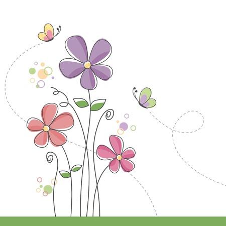 papillon dessin: Fond de fleurs de printemps avec des papillons