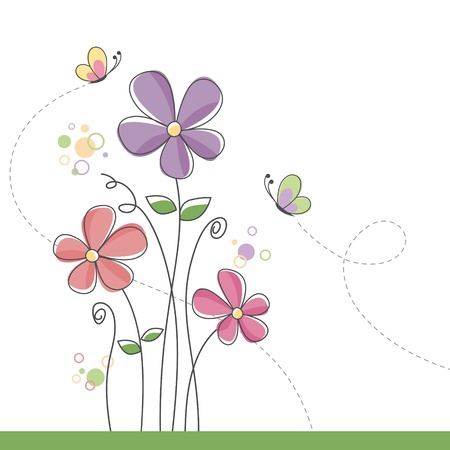 Spring flower background with butterflies Vector