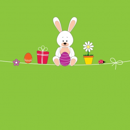 Easter card with color eggs and rabbit Illustration