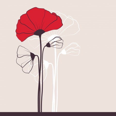 Floral invitation with poppies Vector