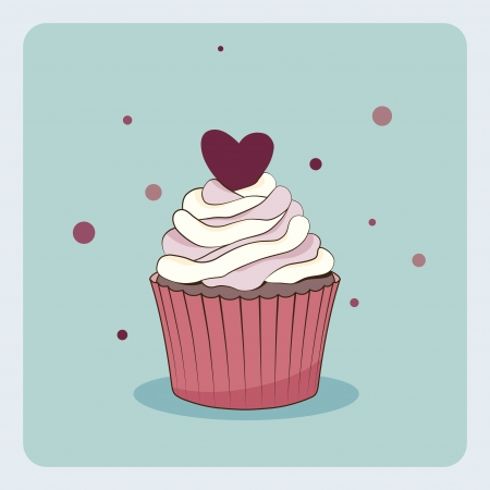 Birthday card with cupcake Stock Vector - 17990684