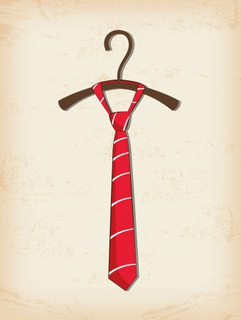 Red tie, father day greeting card Vector