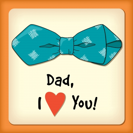 Father day greeting card with bow tie Ilustrace
