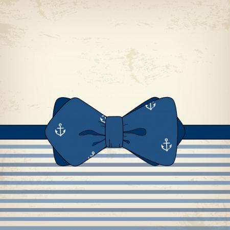 ancre marine: Carte de cru avec un noeud papillon, fête des pères Illustration