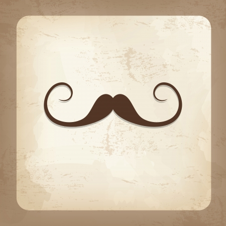 Vintage card with mustache, father day Vectores