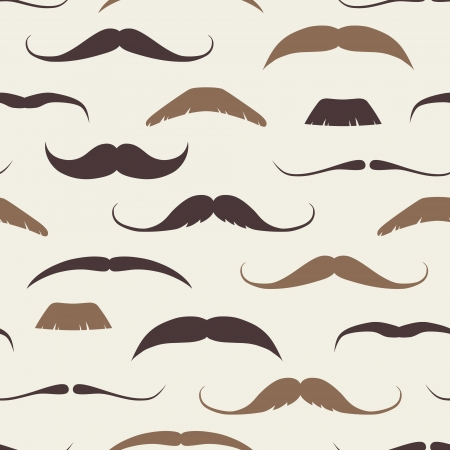 fathers day background: Vintage Seamless Pattern with Mustaches