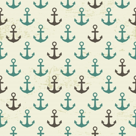 Seamless vintage pattern with anchor, marine background Vector