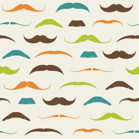 men hair style: Vintage Seamless Pattern with Mustaches