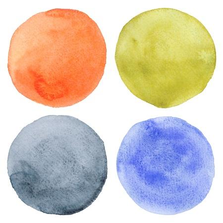 水彩画の手描きの円セット 写真素材