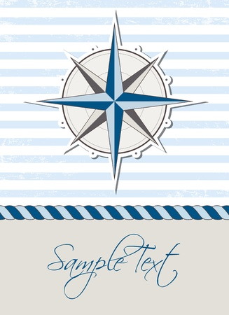 Nautical background with compass, marine card Ilustrace