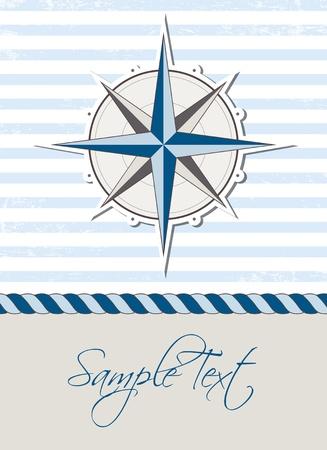 rosa dei venti: Sfondo nautico con bussola, carte marine