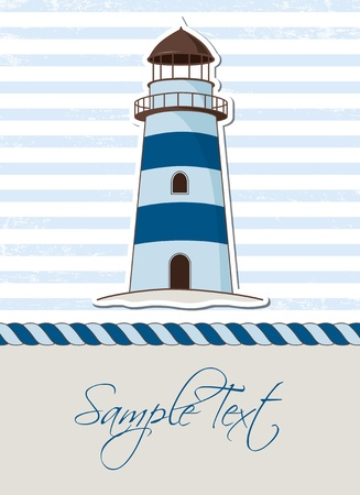 Nautical background with lighthouse, marine card Vector
