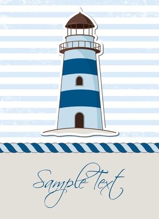 beacon: Nautical background with lighthouse, marine card