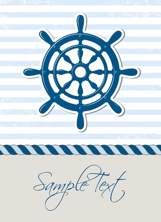 rudder: Nautical background with steering wheel, marine card Illustration