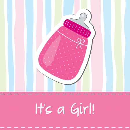 baby stickers: Baby girl shower card with bottle Illustration