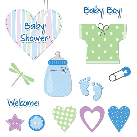 Baby boy shower card - scrapbook design elements Vector