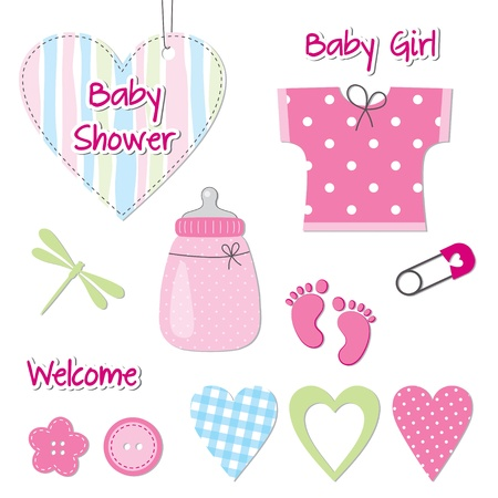 baby shower party: Baby girl shower card - scrapbook design elements