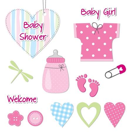 bà bà s: Carte de bébé fille douche - éléments de conception de scrapbook Illustration