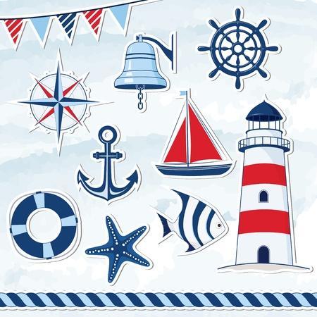 航海のデザイン要素  イラスト・ベクター素材