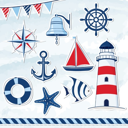 Nautical design elements Stock Vector - 21863593