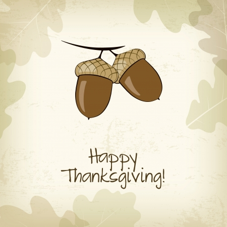 Autumn card with acorns and oak leaves, Thanksgiving day Vector