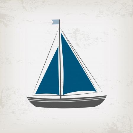 ヨットとビンテージ海洋カード