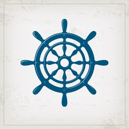 ruder: Vintage marine Karte mit Lenkrad
