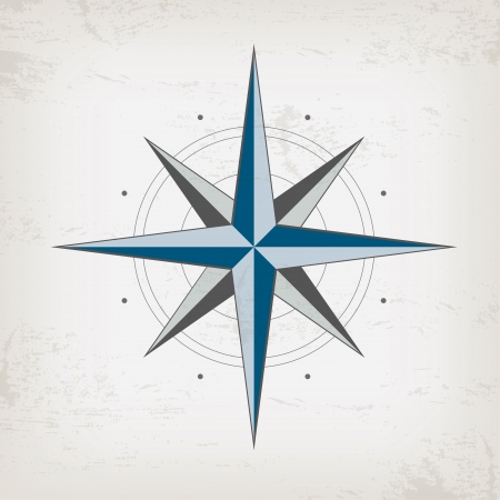 compas de dibujo: Tarjeta de la vendimia con la brújula marina