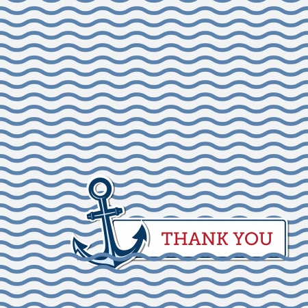 blue you: Thank you greeting card with anchor, nautical background