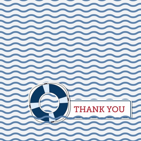 Thank you greeting card with lifebuoy, nautical background Vector