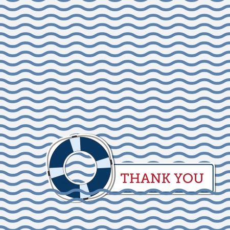 Thank you greeting card with lifebuoy, nautical background Illustration