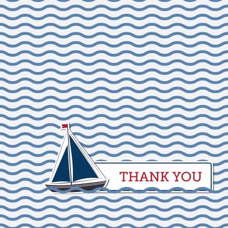 Merci carte de voeux avec le bateau, fond nautique
