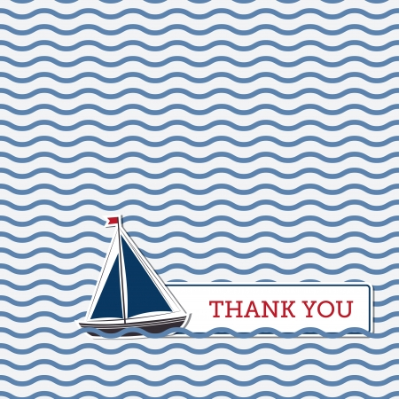 navy blue background: Thank you greeting card with boat, nautical background