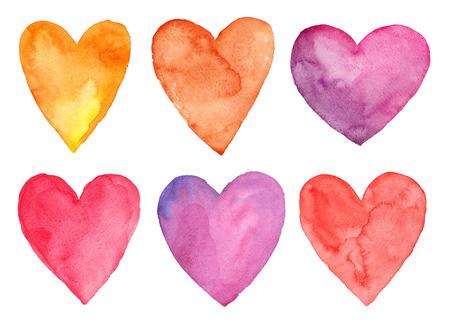 Aquarel harten, Valentijnsdag Stockfoto