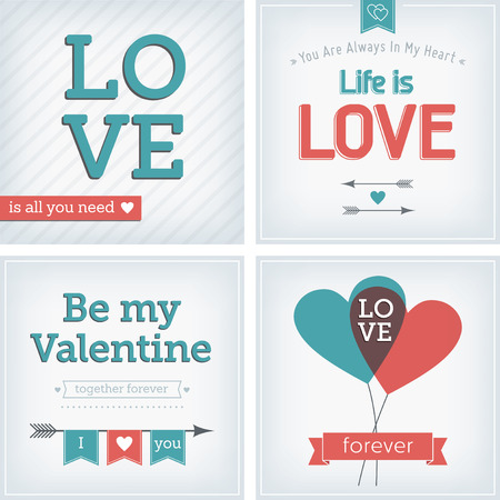 Valentine s day and wedding card with heart, ribbon and decoration Vector