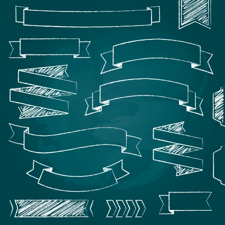 ribbons and banners, chalk doodles Vector