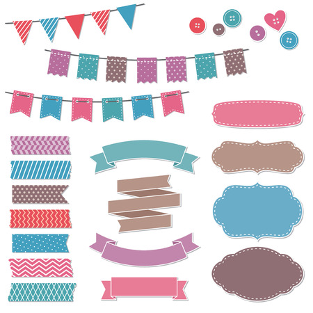 Vintage scrapbook elements, frames, flags, stickers, ribbons, banners Vectores