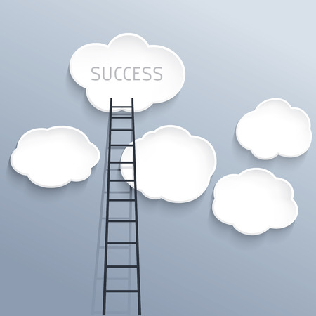 corporate ladder: Success concept, clouds with ladder