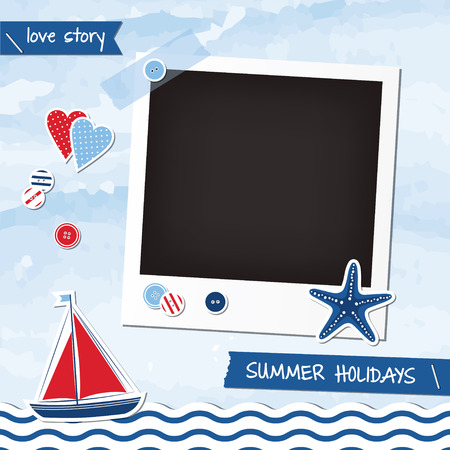 Nautical scrapbook elements, photoframe, sea, boat, starfish, buttons, stickers Vector