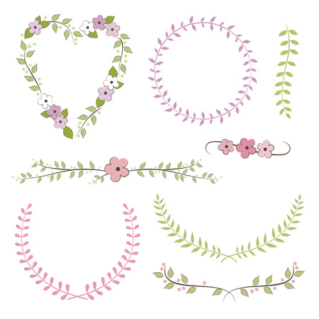 Wedding set  wreath, laurel, flowers Vector