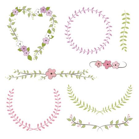 Wedding set  wreath, laurel, flowers Vector