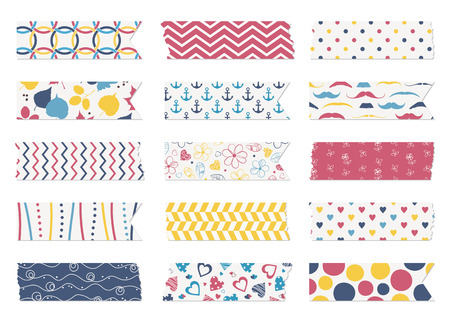 Washi tape strips, scrapbook elements Vector