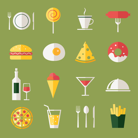 french food: Food icons, flat design