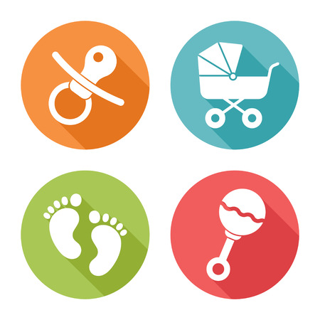 Baby icons, flat design Vector