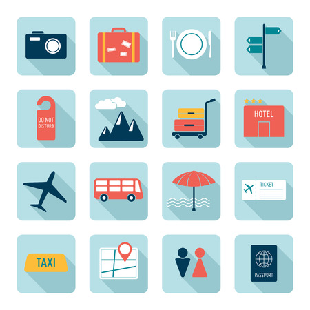 hotel icons: Travel icons, flat design Illustration