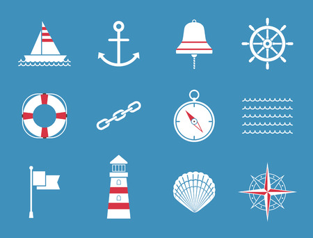 ship sign: Sea Icons Illustration