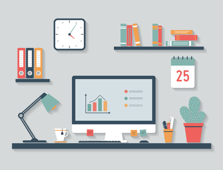 daily planner: Modern office interior with desktop icons, flat design