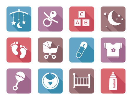 Flat baby icons, modern design Vector